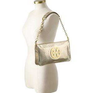 Tory Burch Reva Metallic Gold Clutch Shoulder Bag